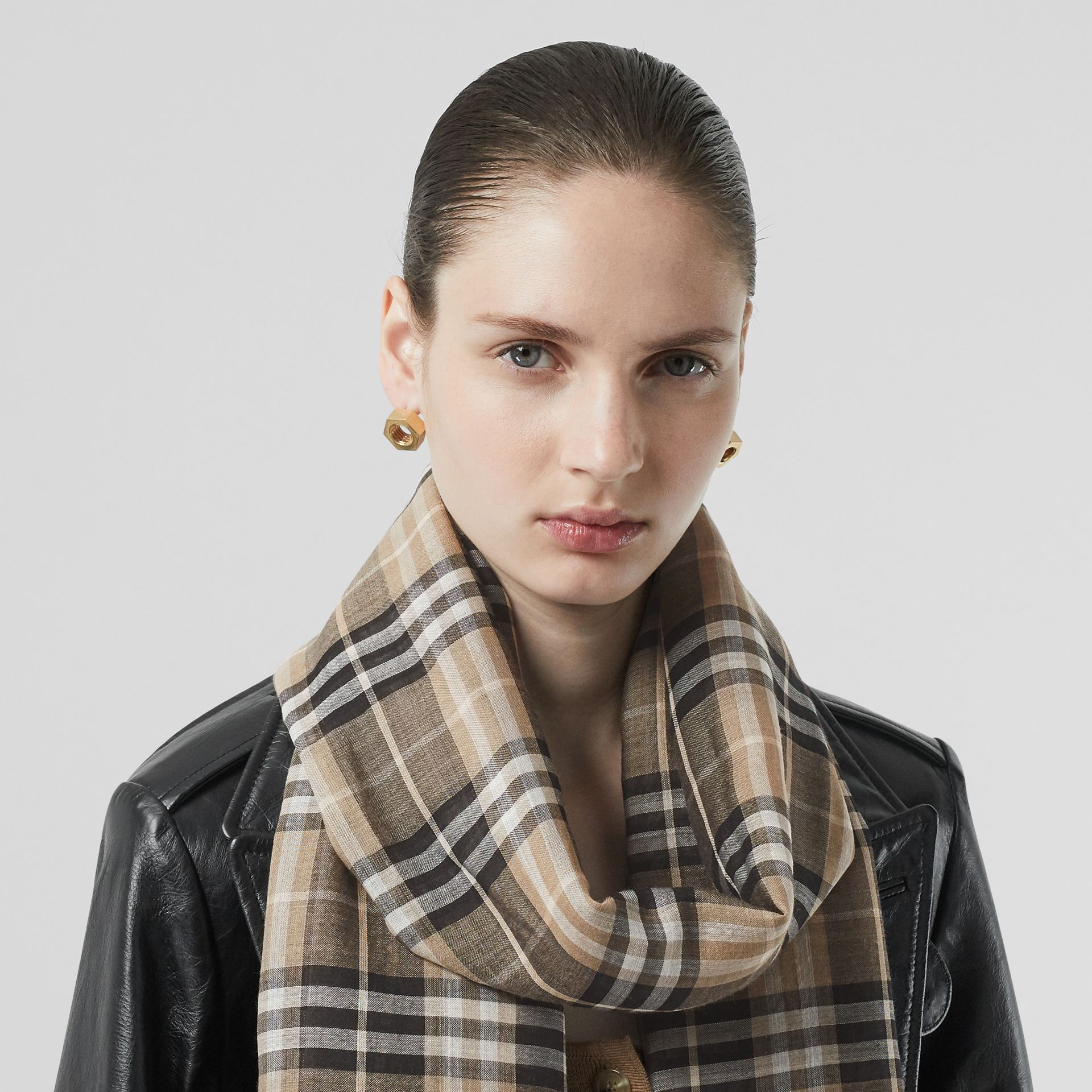 Vintage Check Lightweight Wool Silk Scarf in Pale Honey | Burberry Singapore - gallery image 2