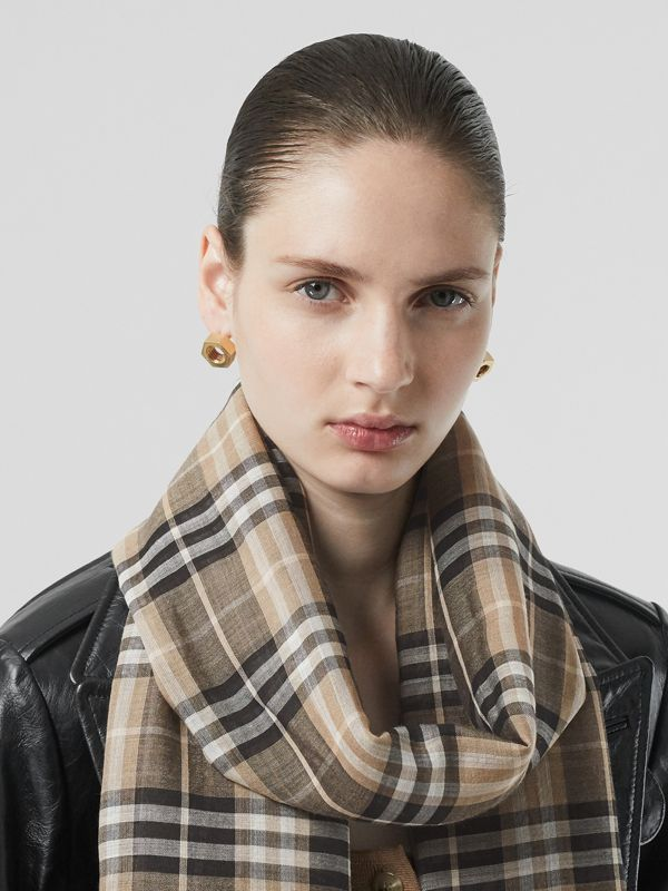Vintage Check Lightweight Wool Silk Scarf in Pale Honey | Burberry - cell image 2