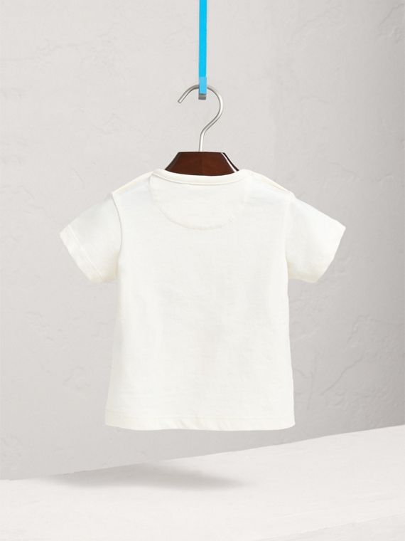 London Icons Print Cotton T-shirt in Natural White | Burberry Australia - cell image 3