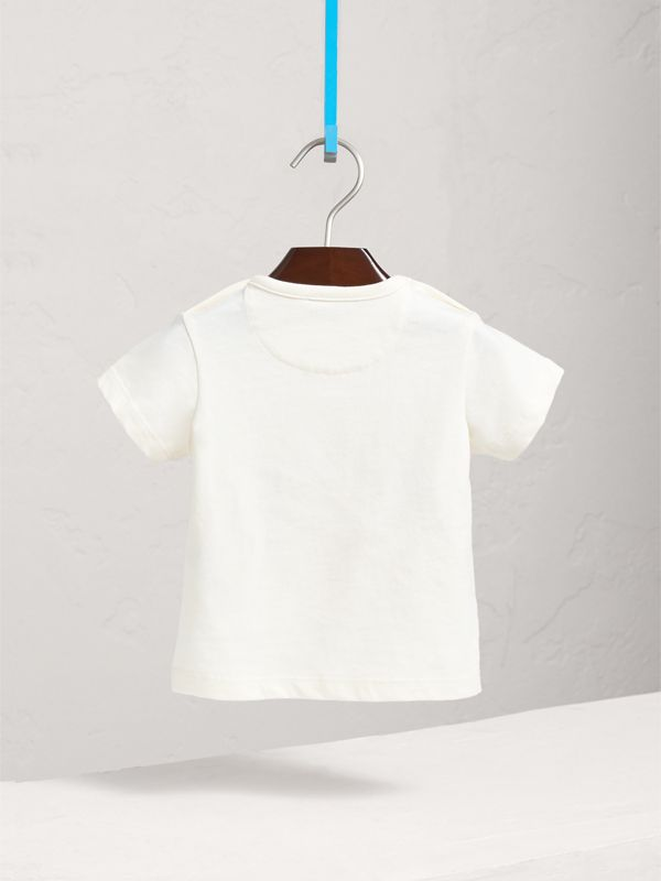London Icons Print Cotton T-shirt in Natural White | Burberry - cell image 3