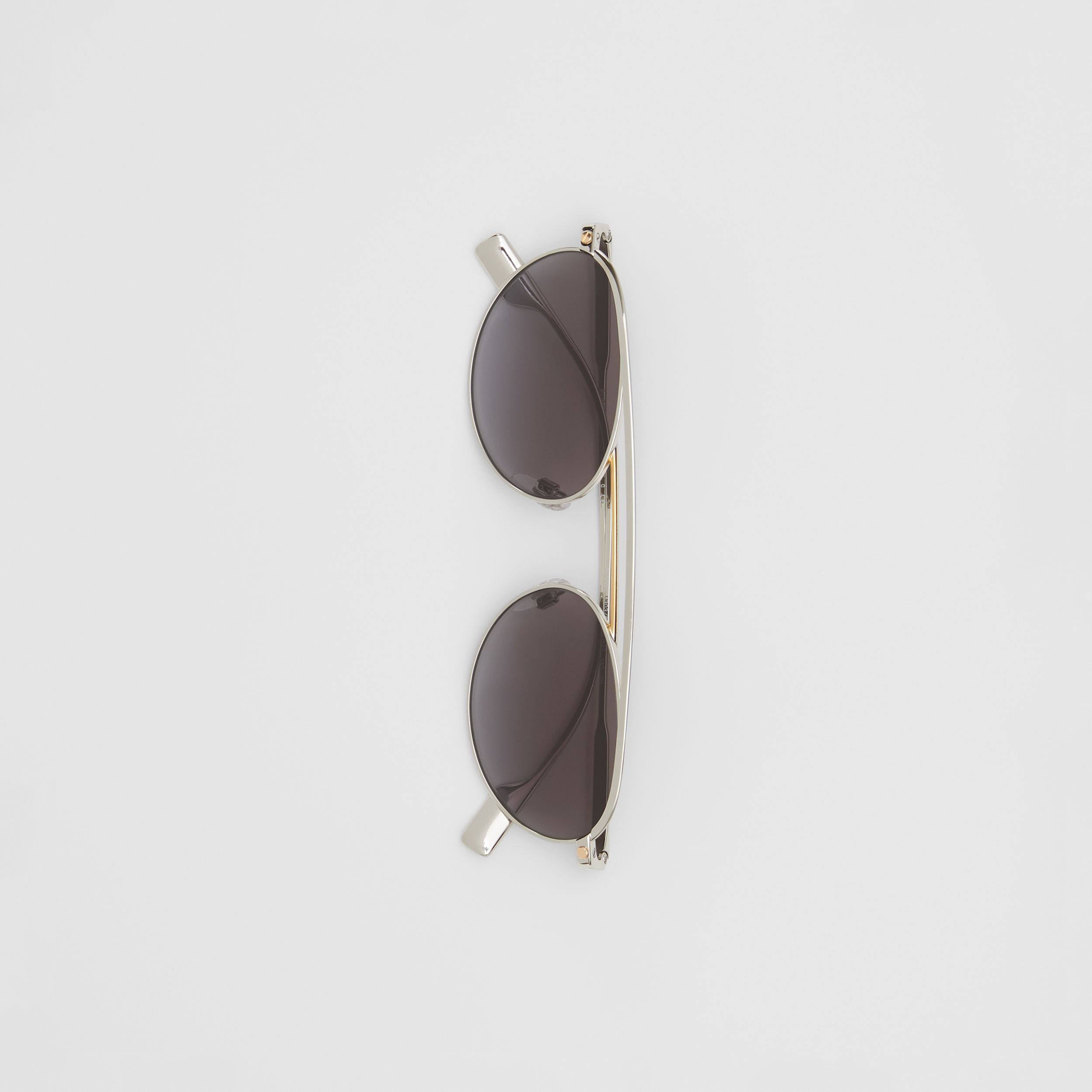 Oval Frame Sunglasses in Grey - Women | Burberry Canada - 4