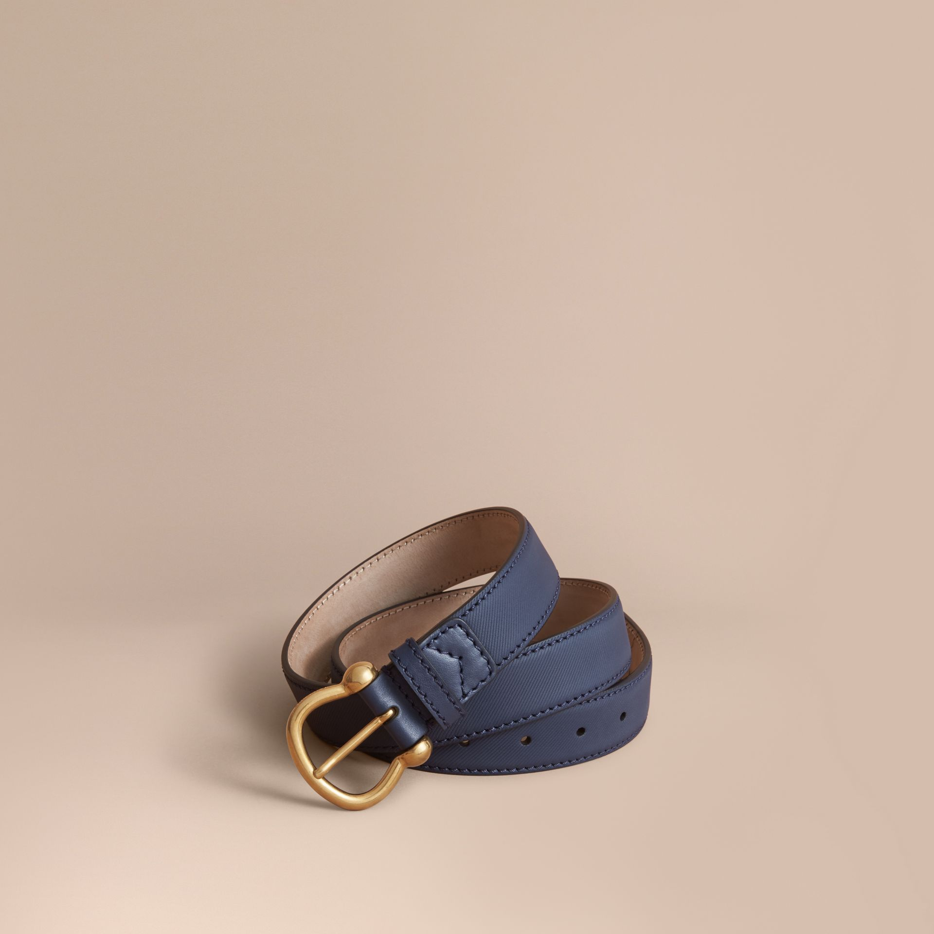 Trench Leather Belt in Ink Blue - Women | Burberry - gallery image 1