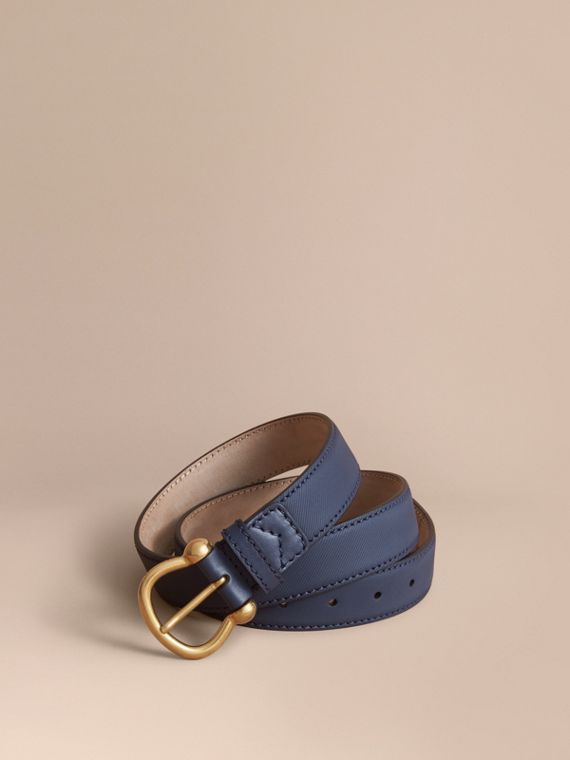 Trench Leather Belt in Ink Blue
