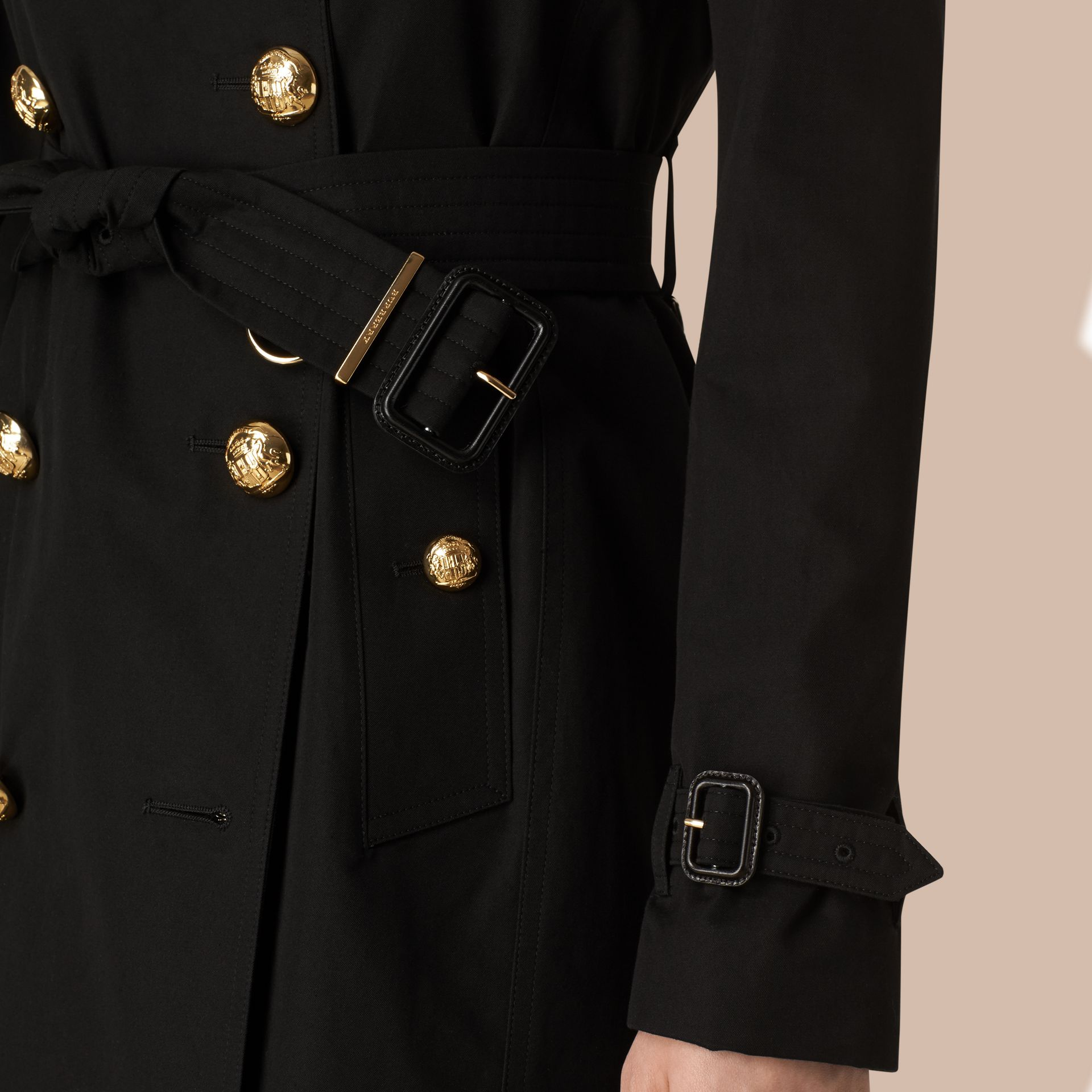 Black Military Button Cotton Gabardine Trench Coat - gallery image 5