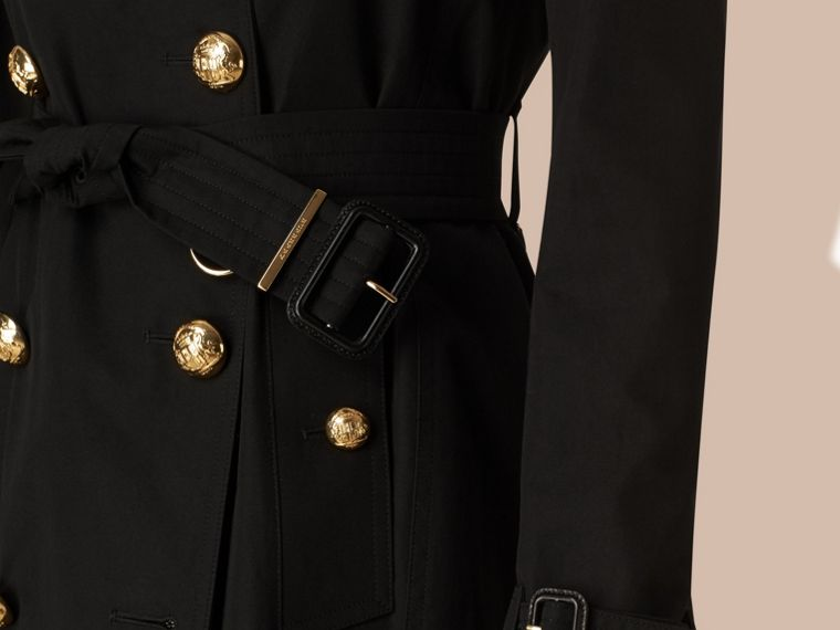 Black Military Button Cotton Gabardine Trench Coat - cell image 4