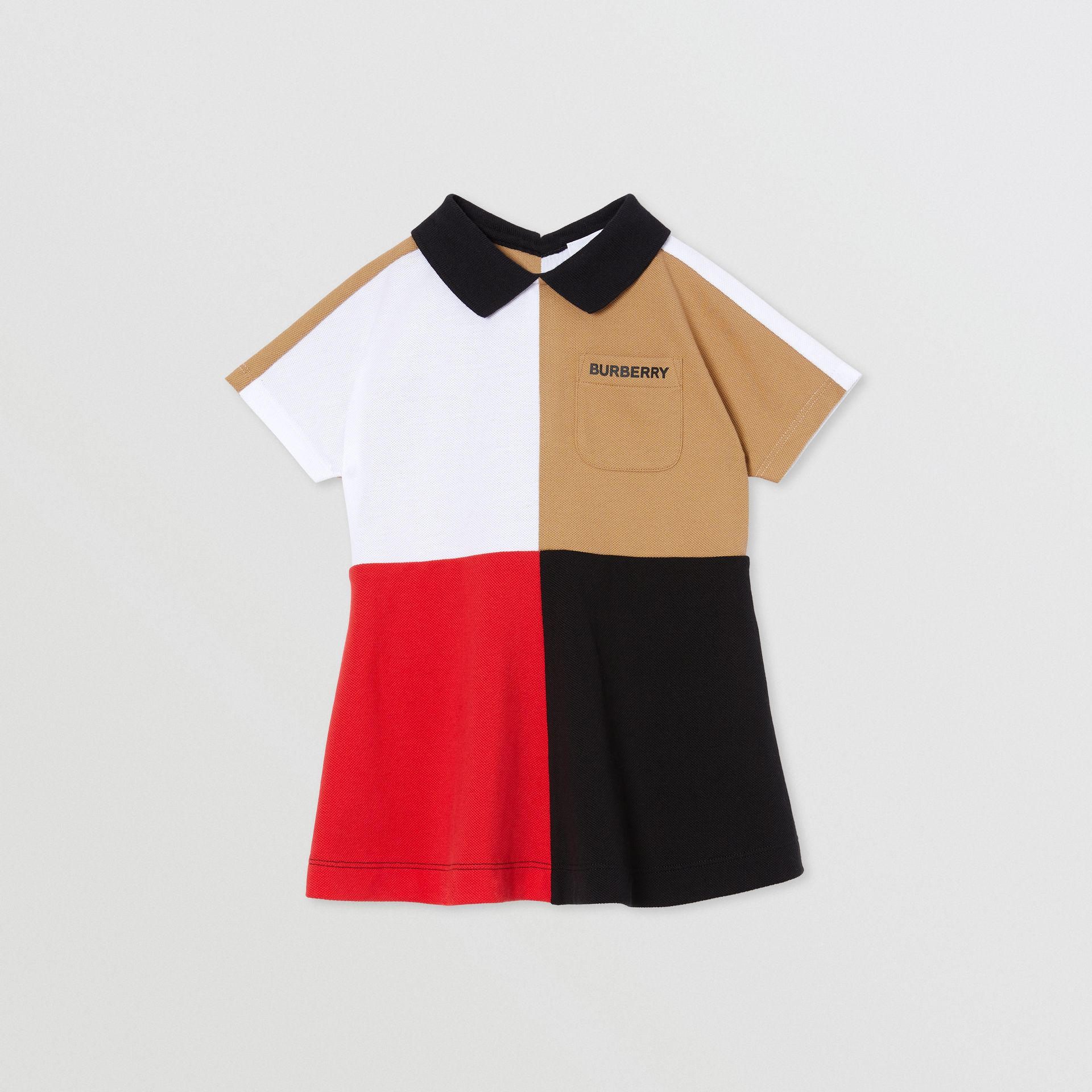 Colour Block Knit Cotton Polo Shirt Dress in Multicolour - Children | Burberry - gallery image 0