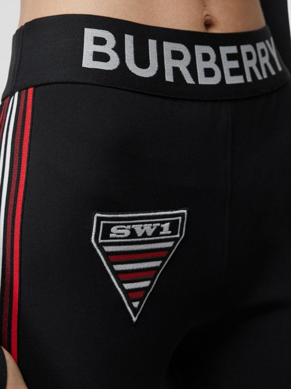 Logo Graphic Stretch Jersey Cycling Shorts in Black - Women | Burberry - cell image 1