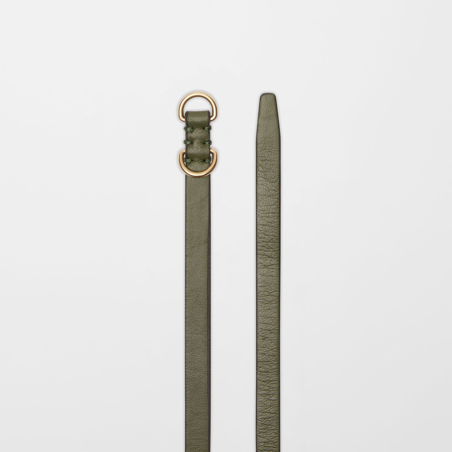 Grommet Detail Lambskin Belt in Dark Olive - Women | Burberry Australia - gallery image 5