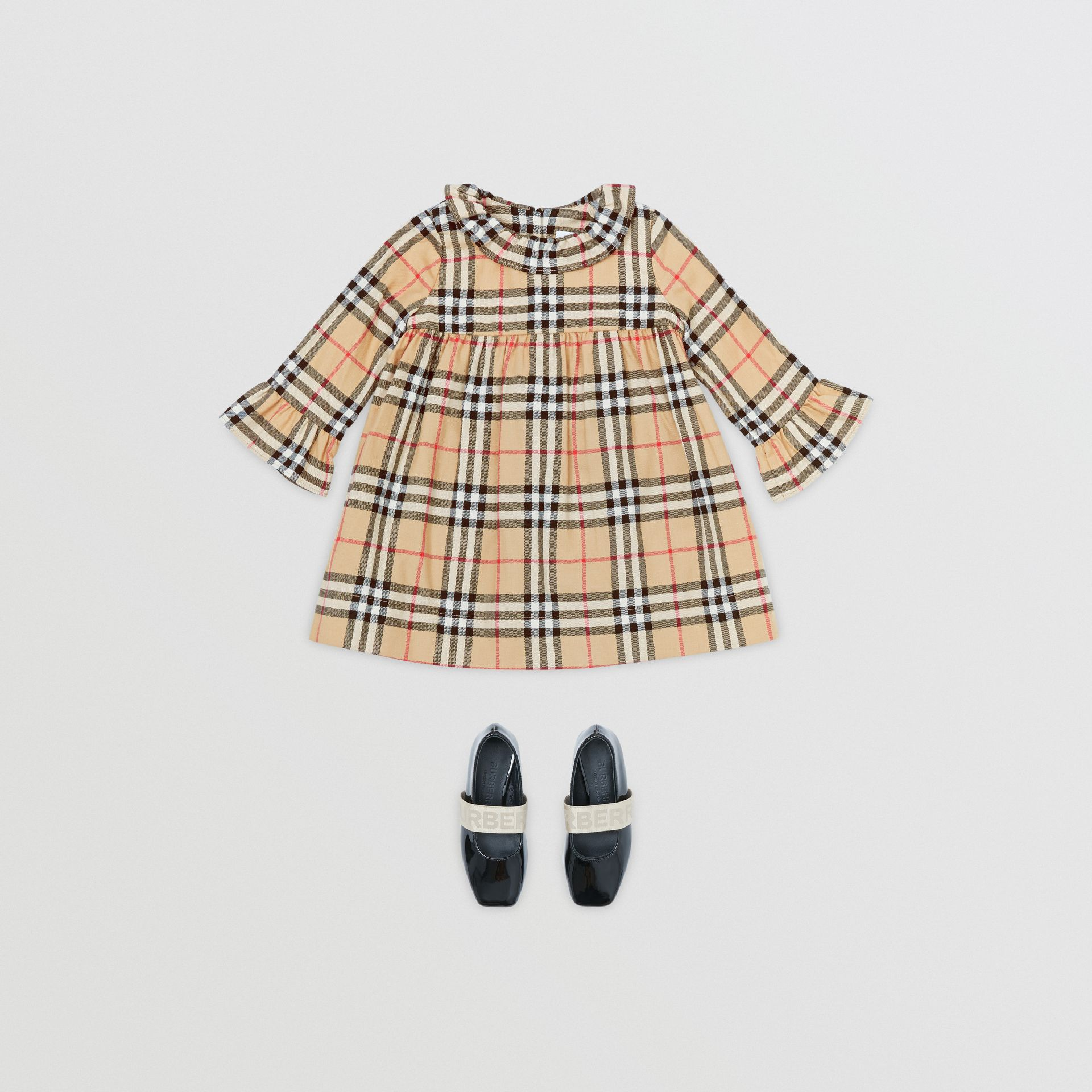 Long-sleeve Vintage Check Cotton Flannel Dress in Archive Beige - Children | Burberry - gallery image 2