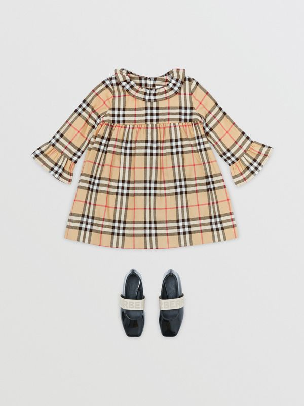 Long-sleeve Vintage Check Cotton Flannel Dress in Archive Beige - Children | Burberry - cell image 2