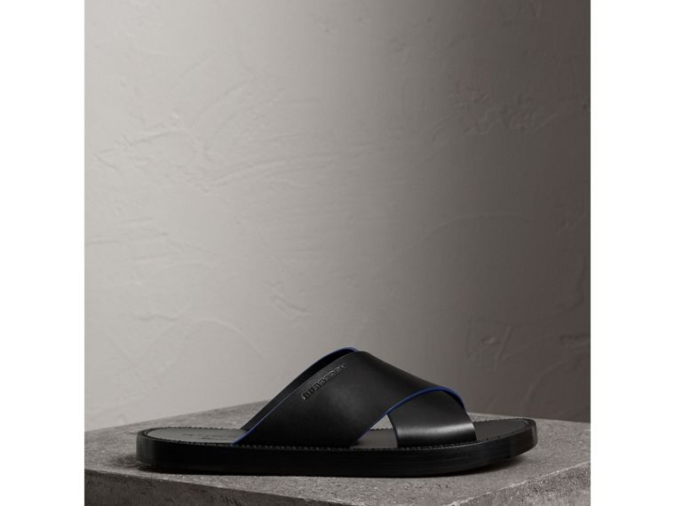 Contrast Detail Leather Sandals in Black - Men | Burberry - cell image 4