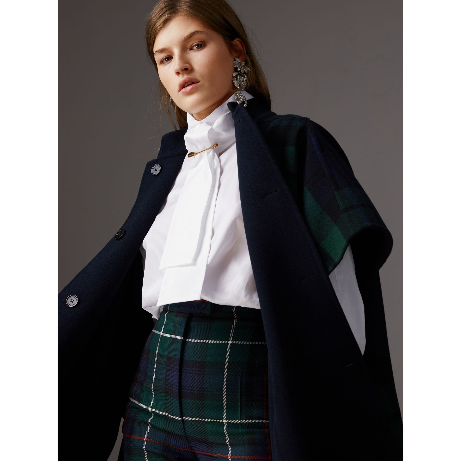Reversible Tartan Wool Cashmere Poncho in Bright Navy - Women | Burberry - gallery image 1