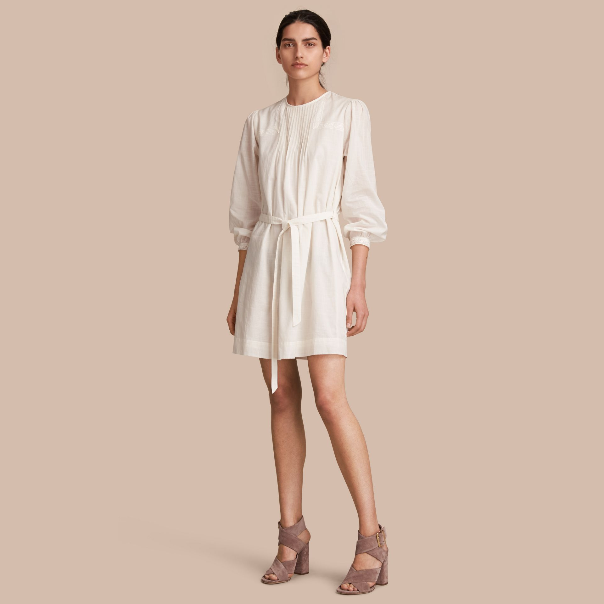 Pintuck and Lace Detail Cotton Dress in Natural White - Women | Burberry - gallery image 1