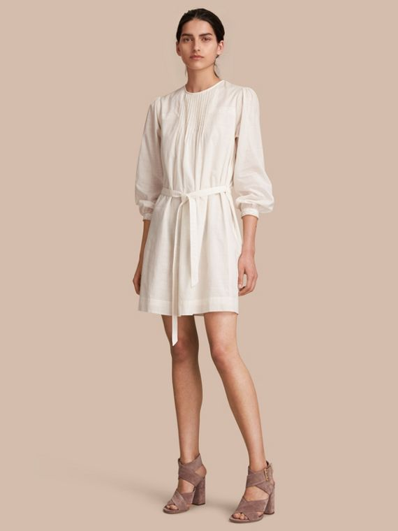 Pintuck and Lace Detail Cotton Dress in Natural White