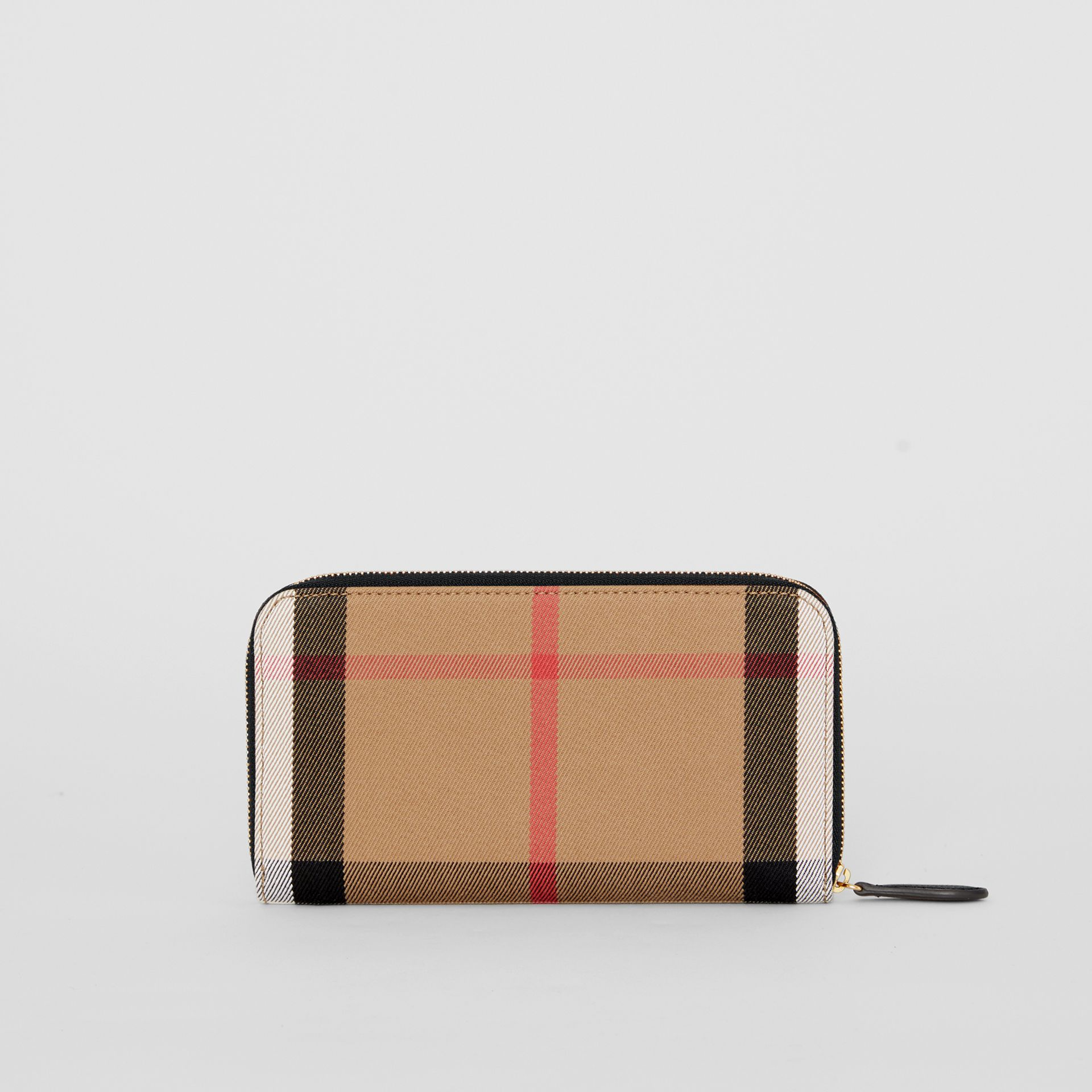 House Check and Leather Ziparound Wallet in Black - Women | Burberry - gallery image 2