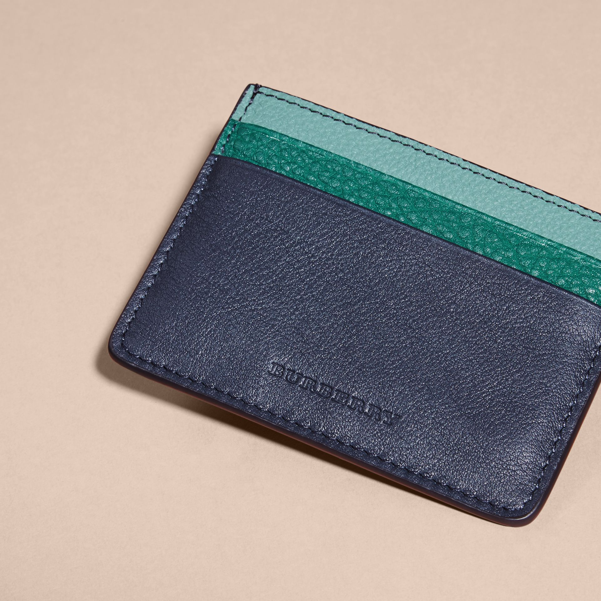 Blue carbon Colour Block Leather Card Case - gallery image 3