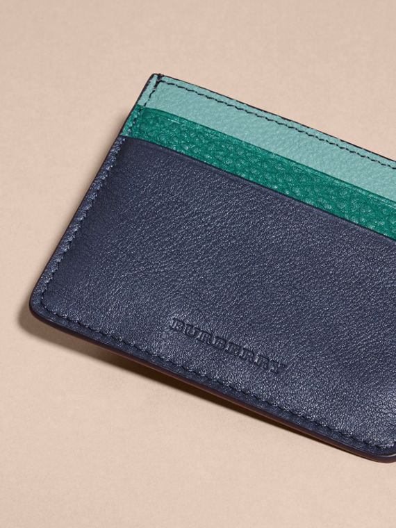 Colour Block Leather Card Case in Blue Carbon - cell image 2