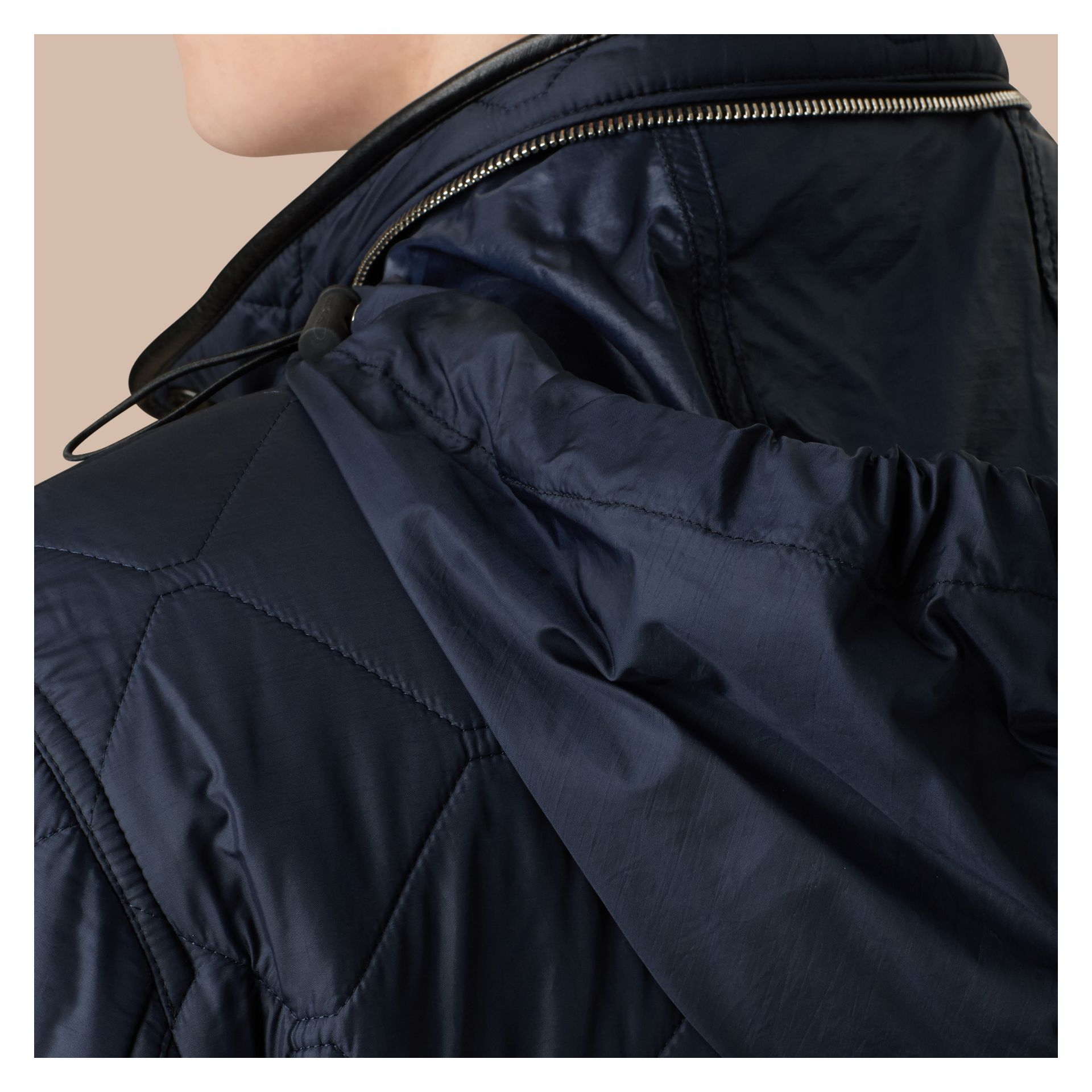 Navy Packaway Hood Lambskin Detail Field Jacket - gallery image 2
