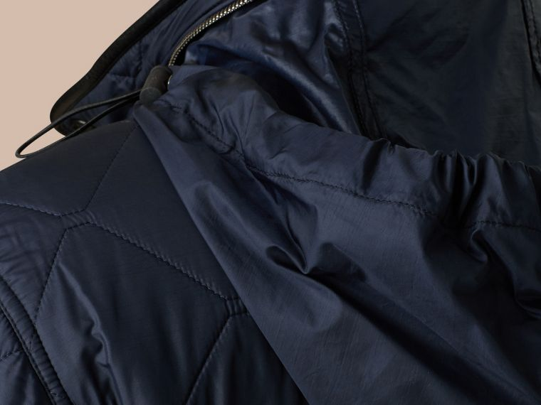 Navy Packaway Hood Lambskin Detail Field Jacket - cell image 1