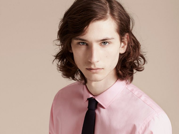 City pink Slim Fit Cotton Poplin Shirt - cell image 4