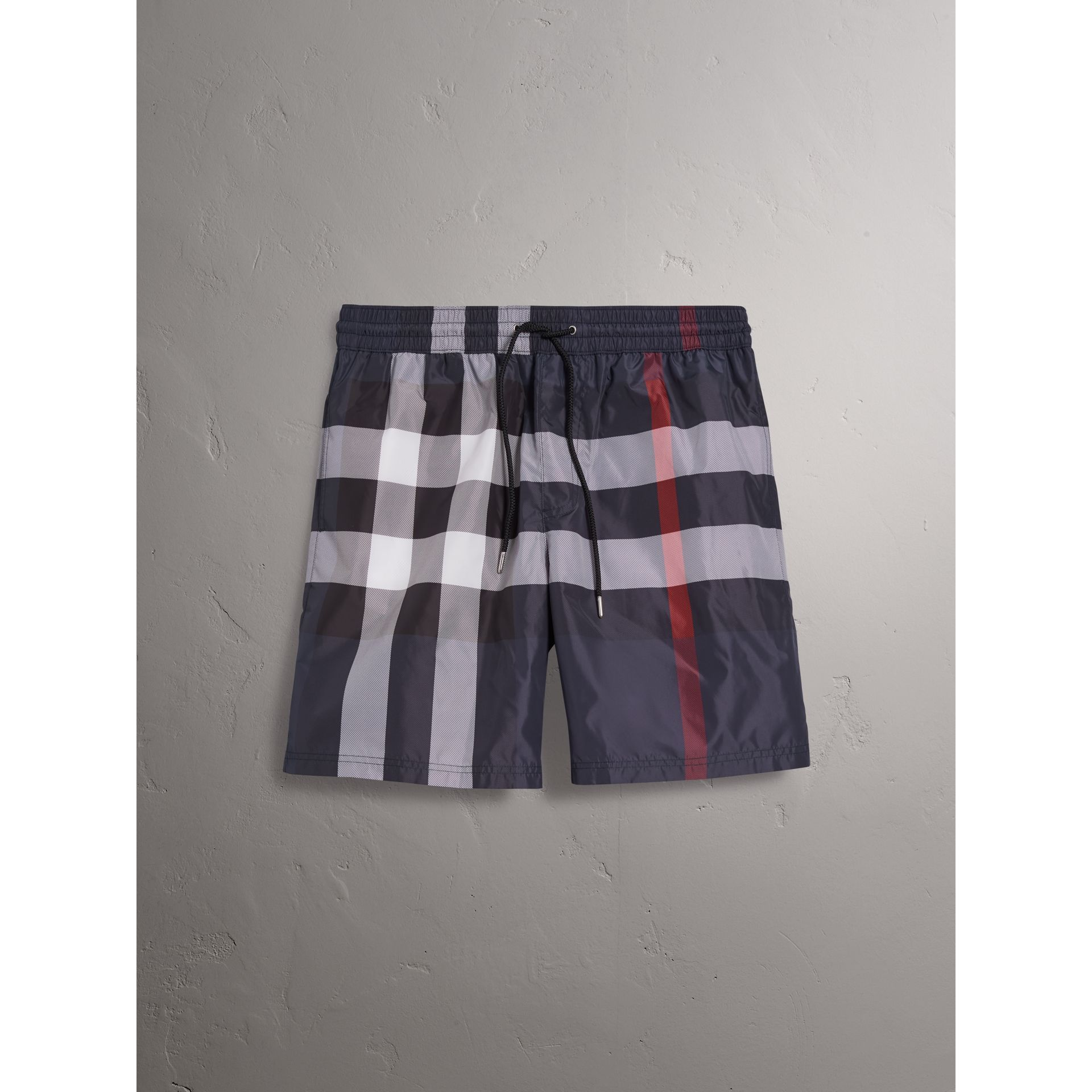 Check Drawcord Swim Shorts in Navy - Men | Burberry - gallery image 1