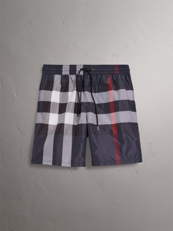 Check Drawcord Swim Shorts in Navy