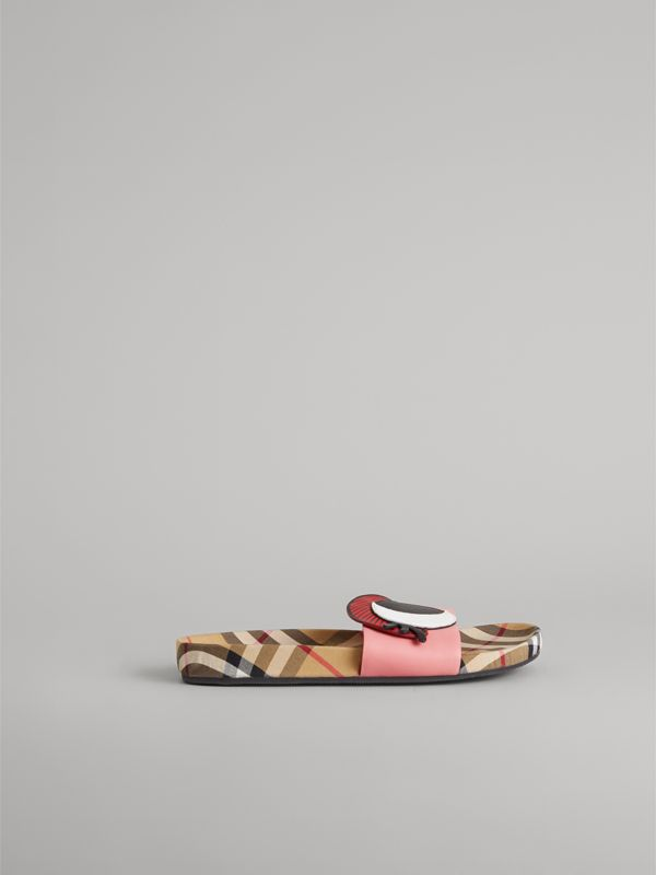 Eye Appliqué Vintage Check and Leather Slides in Pink Azalea | Burberry - cell image 3
