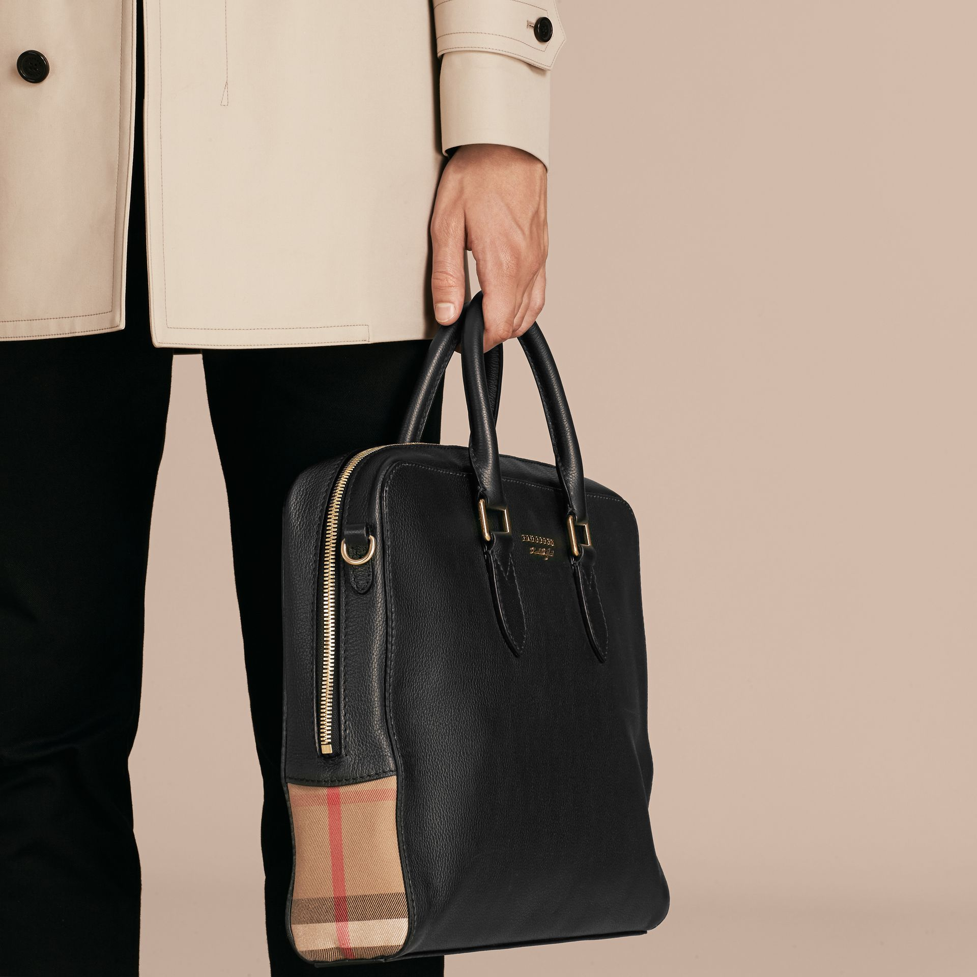Leather and House Check Briefcase in Black - Men | Burberry - gallery image 4
