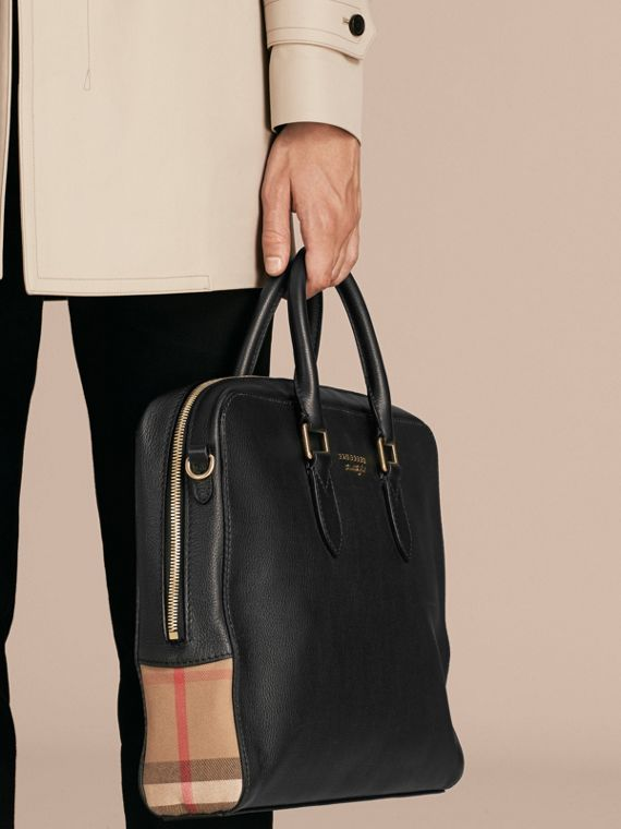 Leather and House Check Briefcase in Black - Men | Burberry - cell image 3