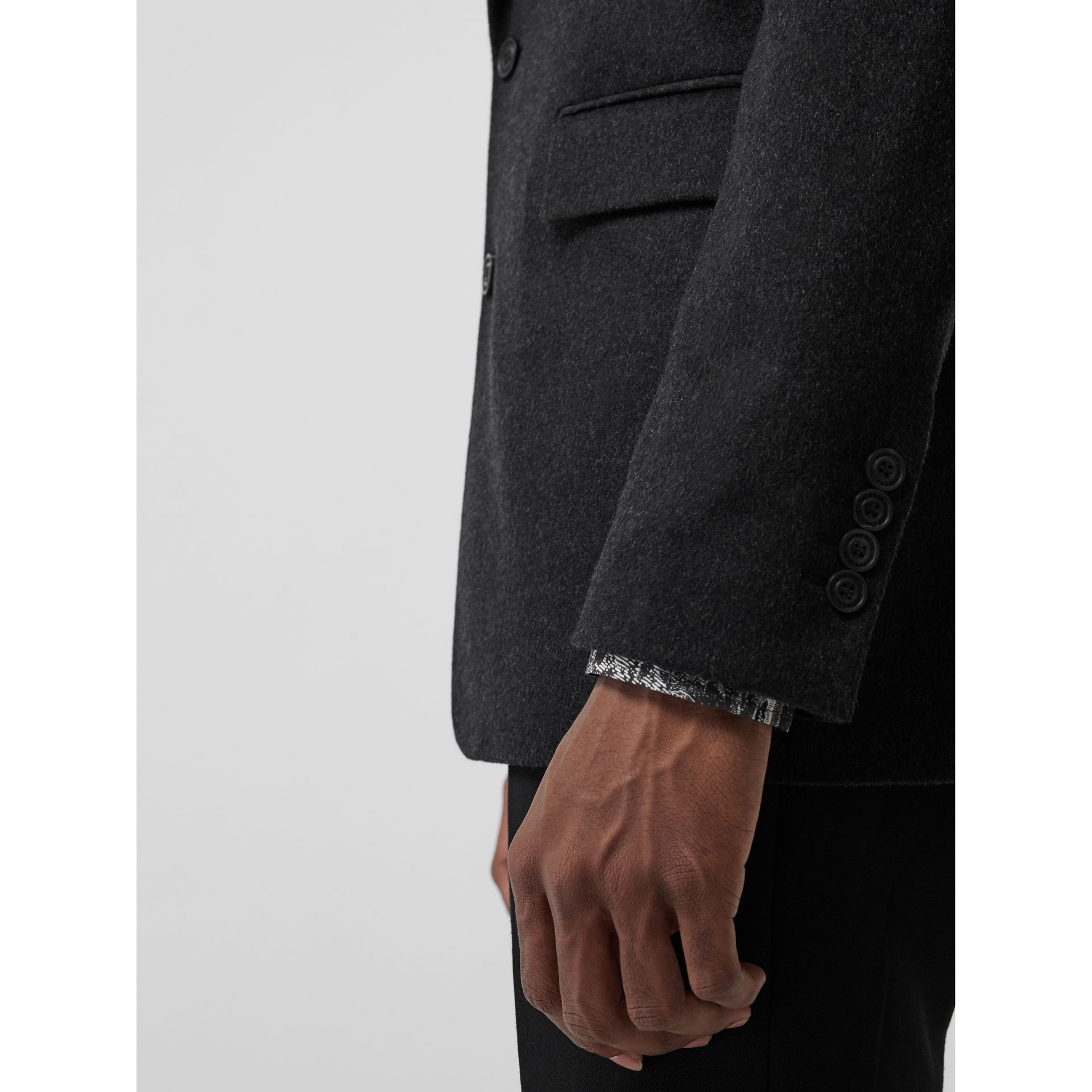 Classic Fit Cashmere Tailored Jacket in Dark Grey Melange - Men | Burberry - gallery image 4