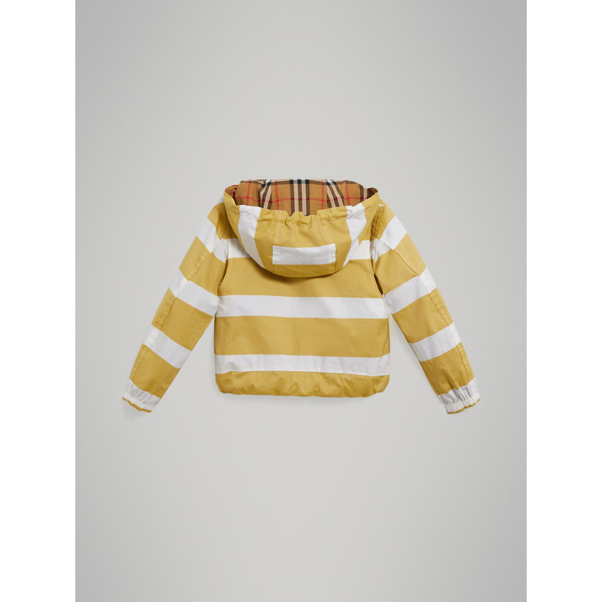 Reversible Stripe and Vintage Check Cotton Jacket in Larch Yellow/whte - Boy | Burberry - gallery image 3