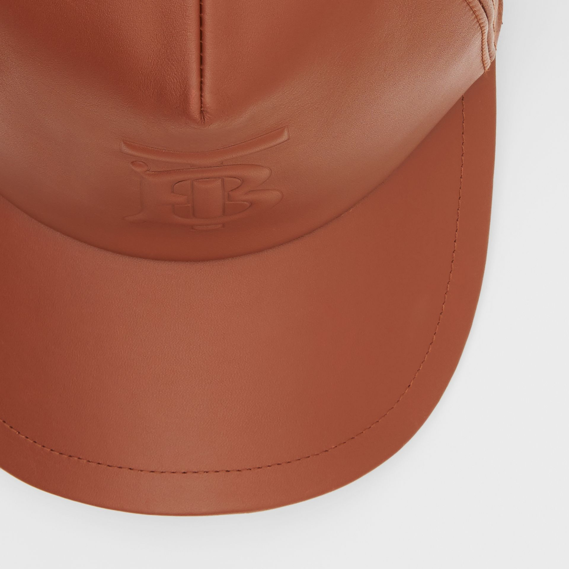 Monogram Motif Leather Baseball Cap in Tan | Burberry - gallery image 1