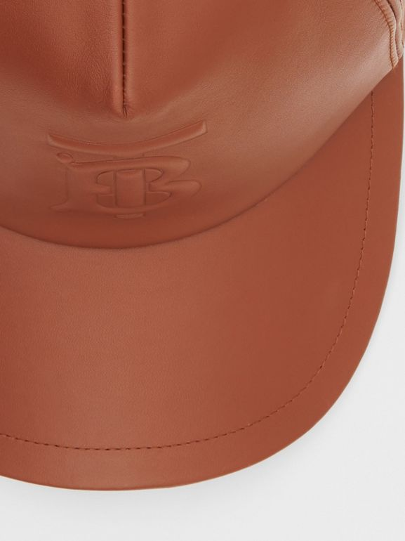 Monogram Motif Leather Baseball Cap in Tan | Burberry - cell image 1