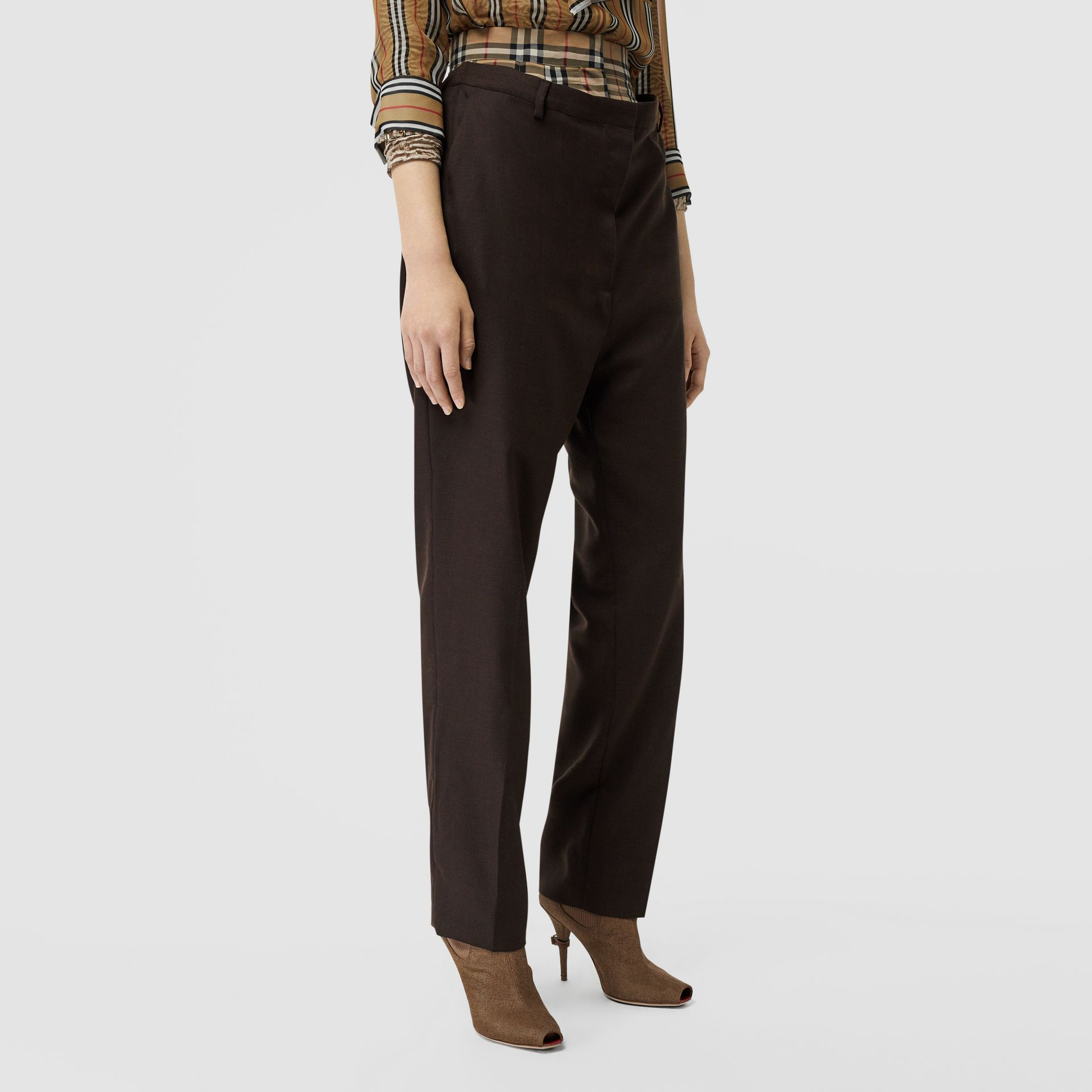 Vintage Check Panel Double-waist Wool Trousers in Black - Women | Burberry Singapore - gallery image 4