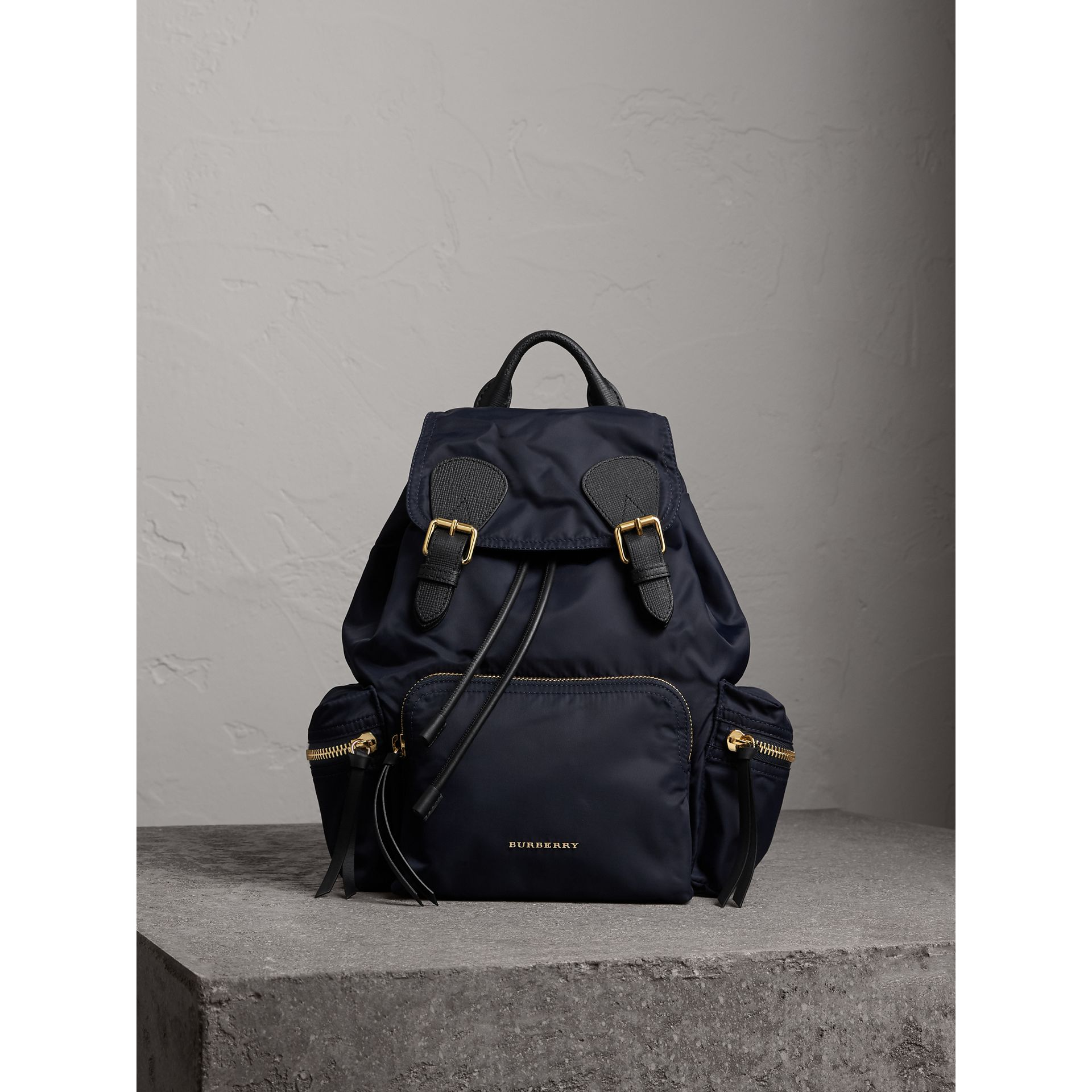 The Medium Rucksack in Technical Nylon and Leather in Ink Blue - Women | Burberry - gallery image 1
