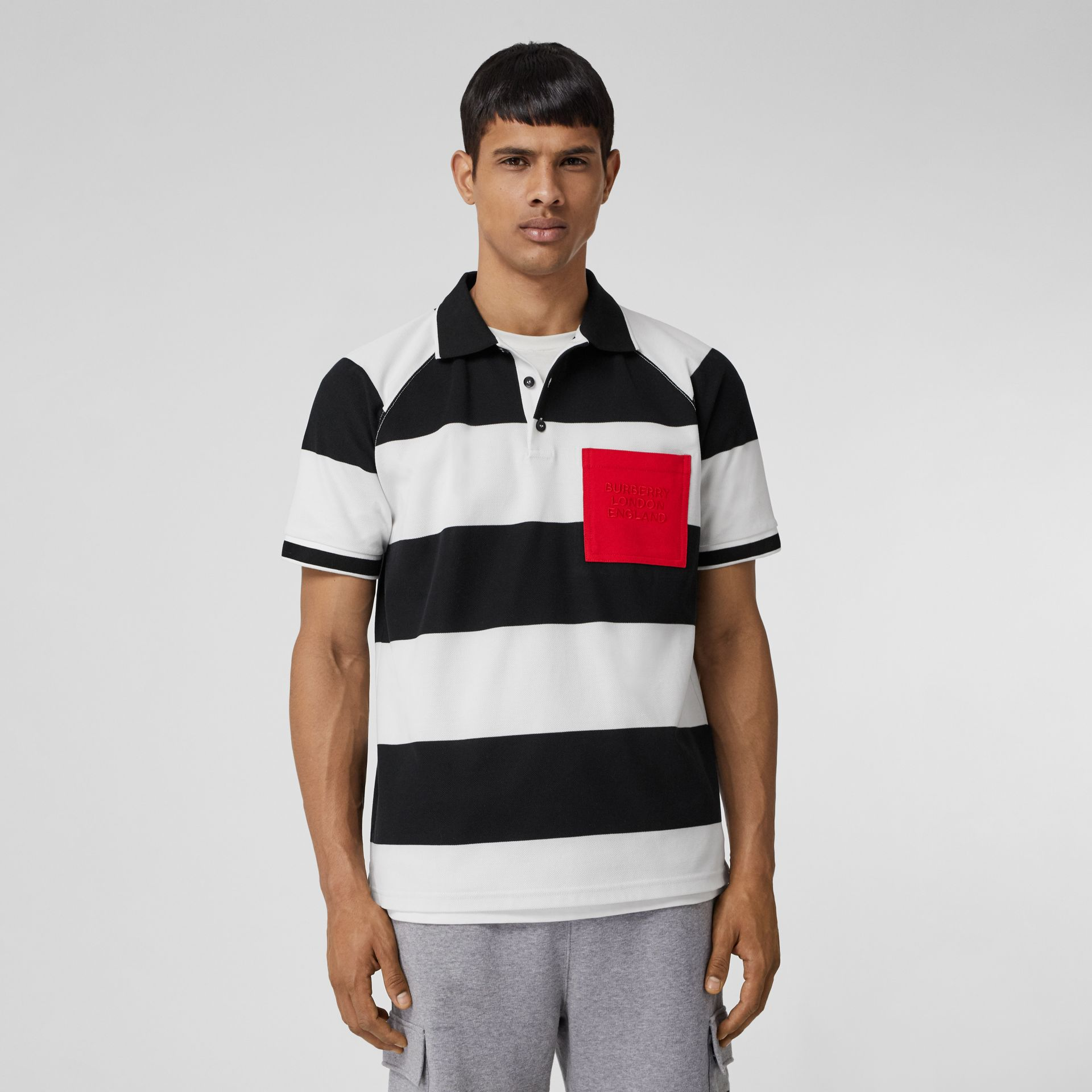 Rugby Stripe Tipped Cotton Piqué Oversized Polo Shirt in Black/white - Men | Burberry - gallery image 0