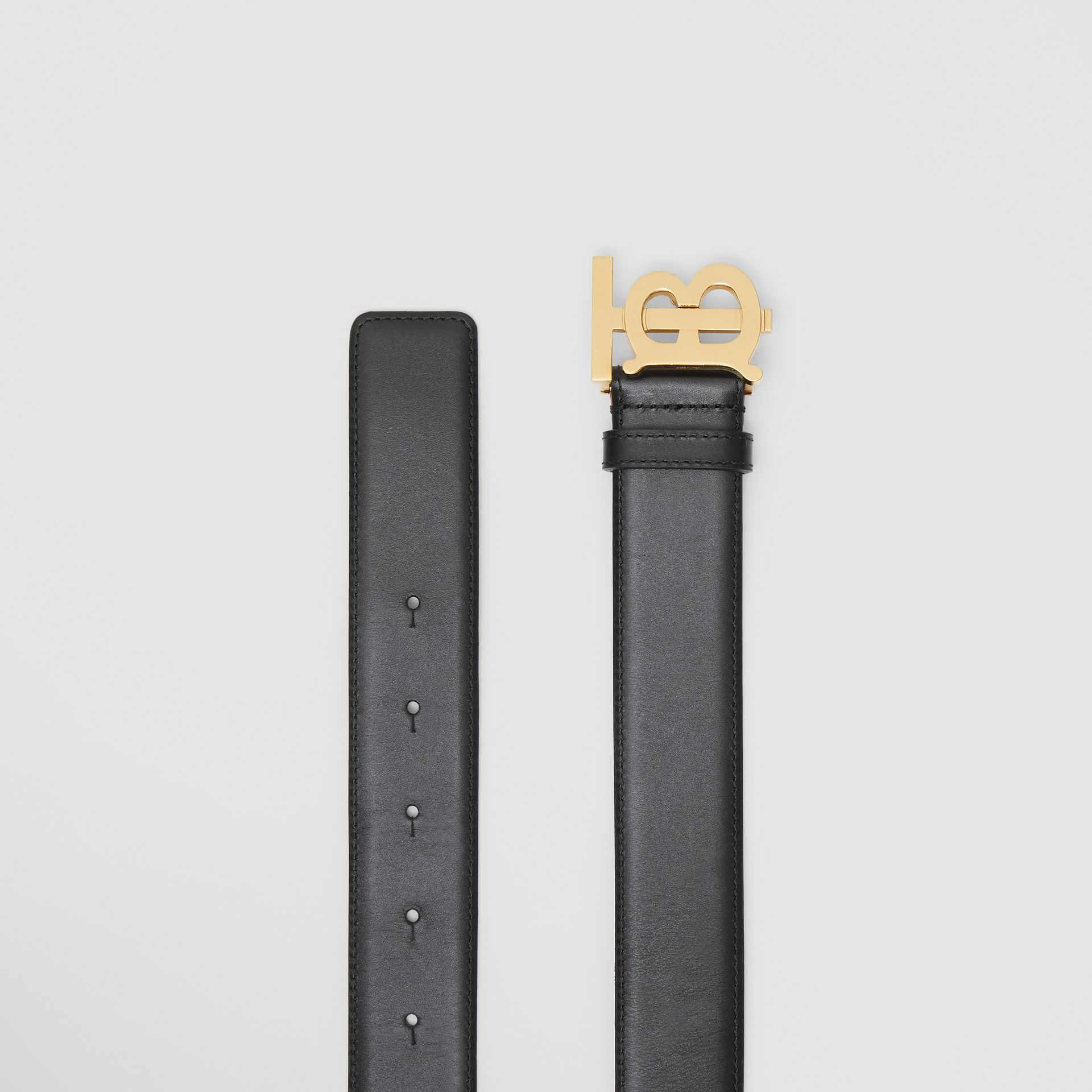Monogram Motif Leather Belt in Black - Women | Burberry - gallery image 5