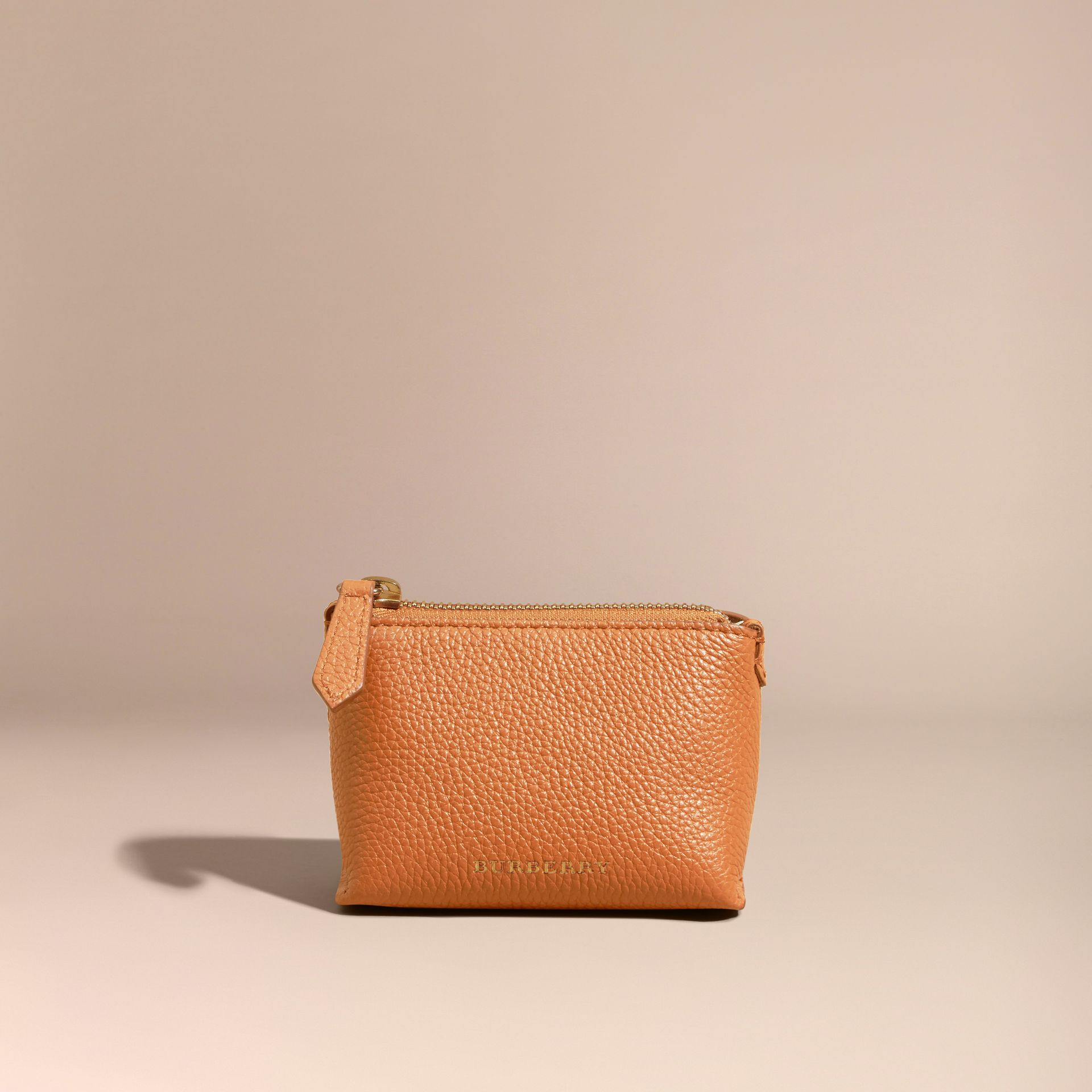 Orange umber Grainy Leather Lipstick Case - gallery image 6