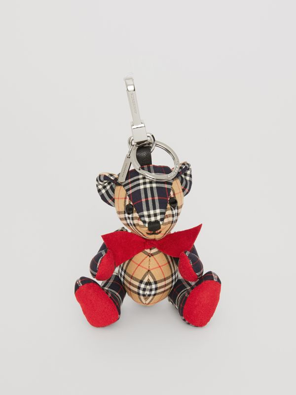 Thomas Bear Charm in Small Scale Check Cotton in Antique Yellow | Burberry - cell image 2