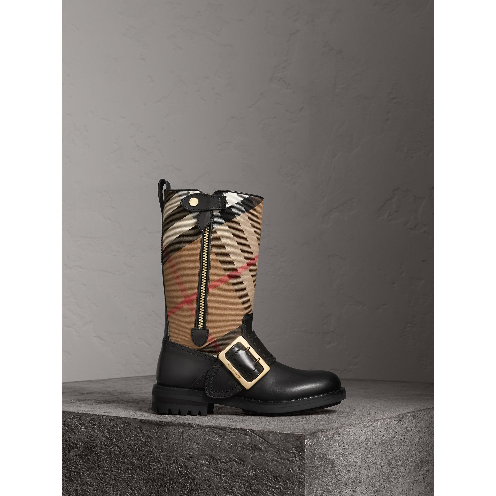 House Check Buckle Detail Leather Boots in Classic - Women | Burberry United States - gallery image 1
