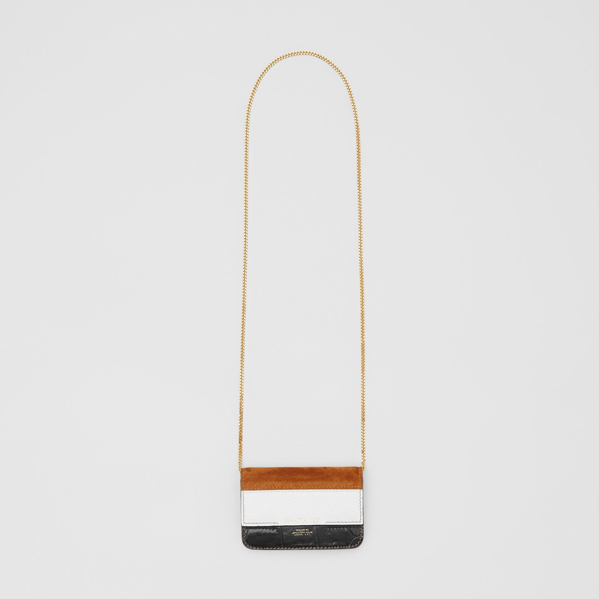 Porta-cartões de couro e camurça com alça removível (Branco/bordo/preto) - Mulheres | Burberry - galeria de imagens 2