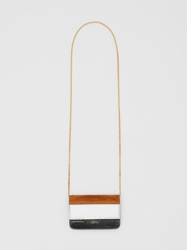 Porta-cartões de couro e camurça com alça removível (Branco/bordo/preto) - Mulheres | Burberry - cell image 2