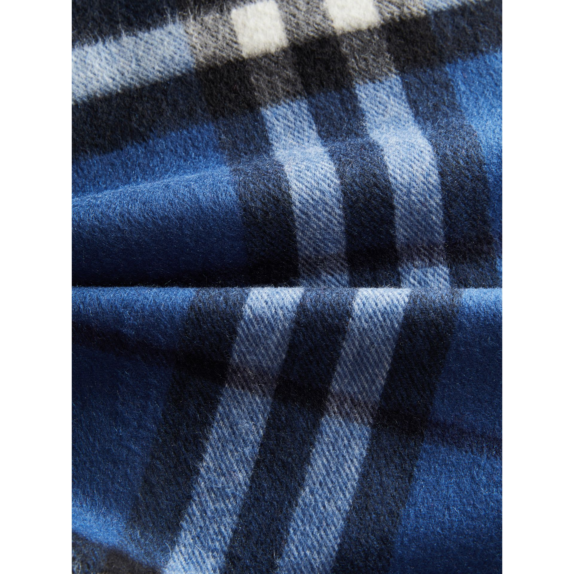 The Mini Classic Check Cashmere Scarf in Cadet Blue | Burberry Canada - gallery image 1