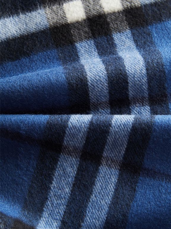 The Mini Classic Check Cashmere Scarf in Cadet Blue | Burberry Canada - cell image 1