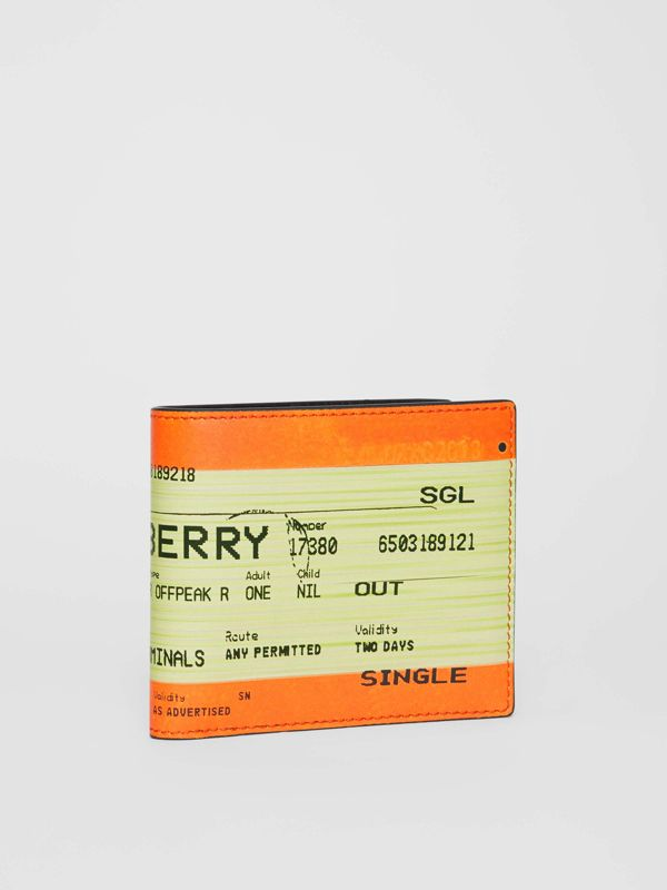 Train Ticket Print Leather International Bifold Wallet in Orange - Men | Burberry - cell image 3