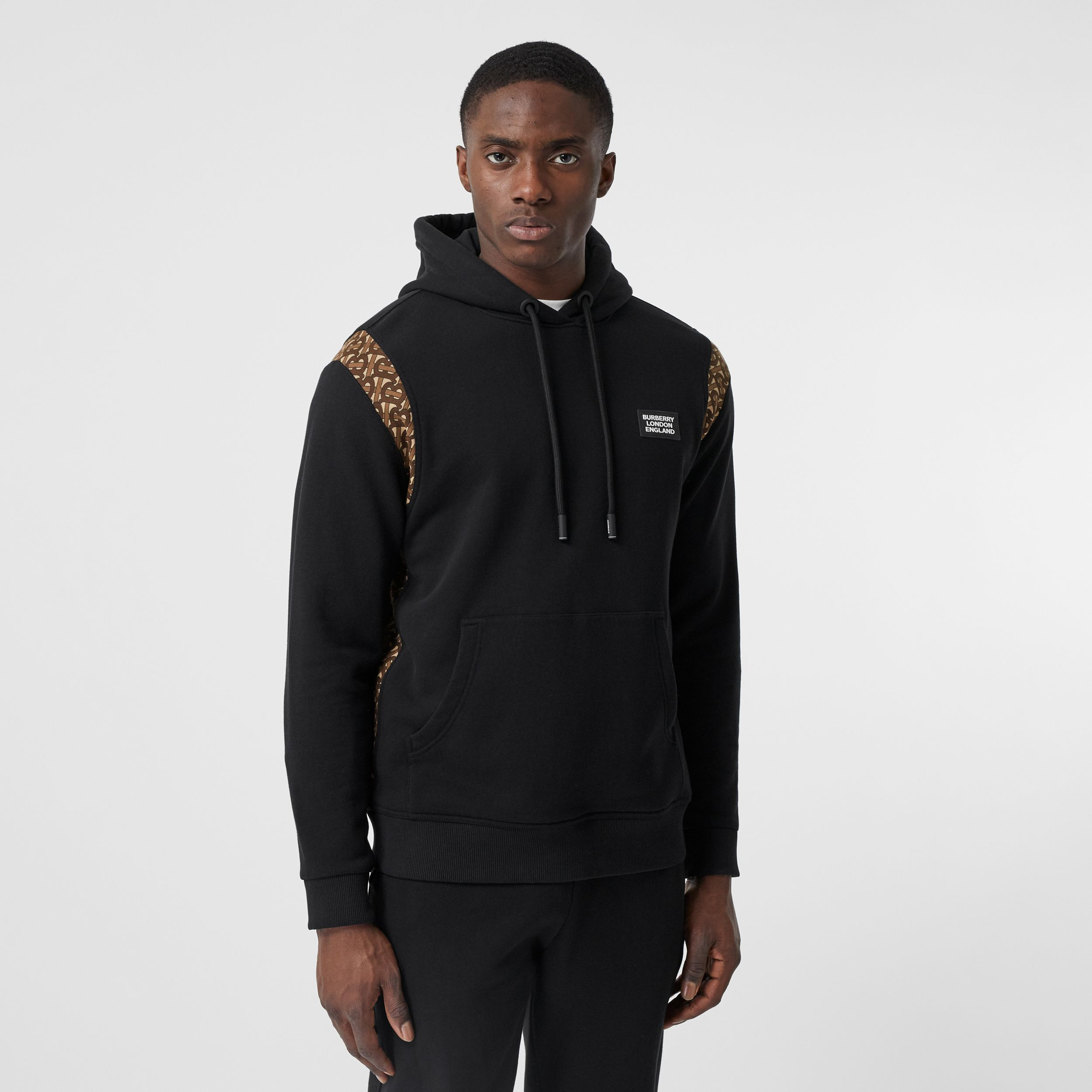 Monogram Print Panel Cotton Hoodie in Black - Men | Burberry - 1
