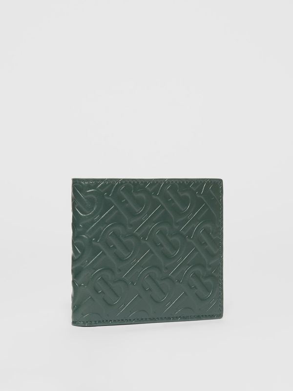Monogram Leather International Bifold Wallet in Dark Pine Green - Men | Burberry - cell image 3