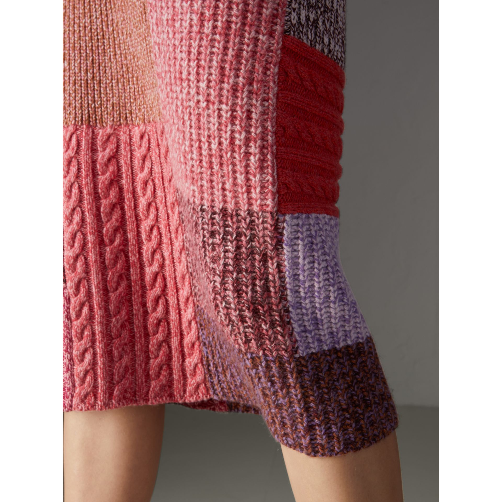 Cashmere-wool Mouliné Patchwork Skirt in Multicolour - Women | Burberry - gallery image 1
