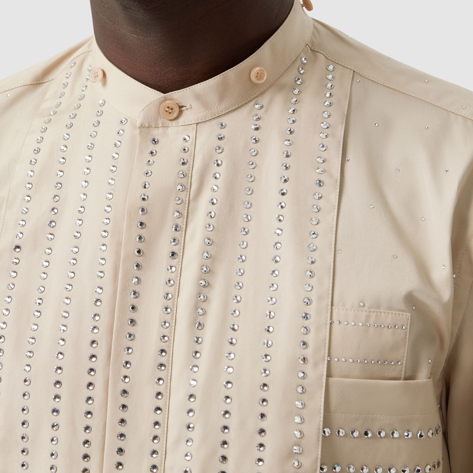 Detachable Collar Crystal Detail Cotton Poplin Shirt in Sesame | Burberry - gallery image 1