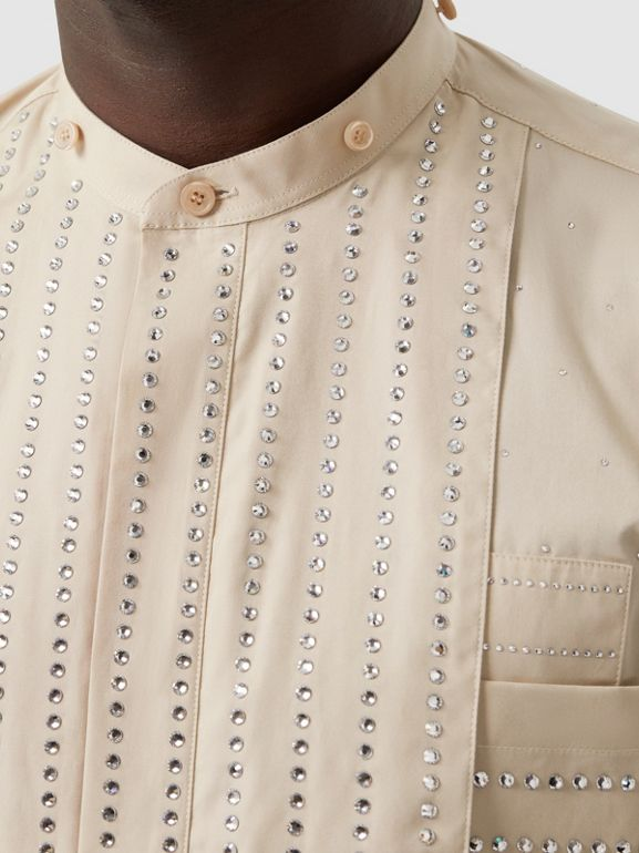 Detachable Collar Crystal Detail Cotton Poplin Shirt in Sesame | Burberry - cell image 1